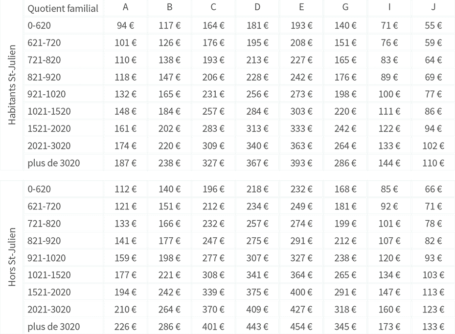 Tableau des tarifs 2017-2018